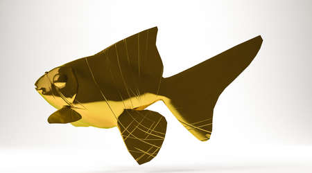 golden 3d rendering of a fish isolated on white Stock Photo