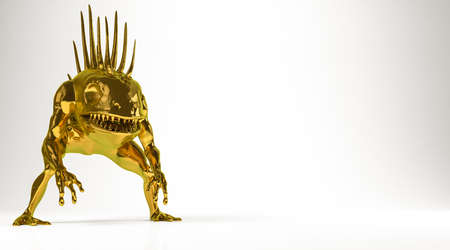 the spikes: golden 3d rendering of a monsterisolated on white