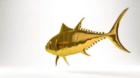 cook out: golden 3d rendering of a tuna fish isolated on white