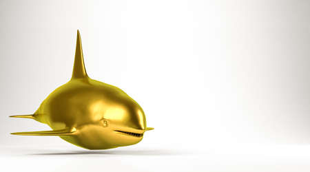 reflection of life: golden 3d rendering of an animal isolated on white Stock Photo