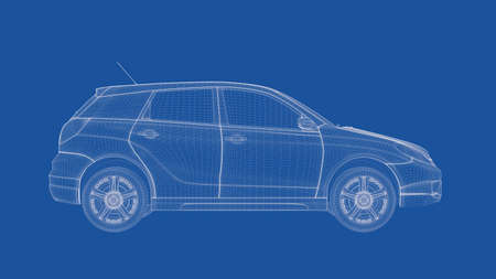 car: 3d rendering of an outlined car