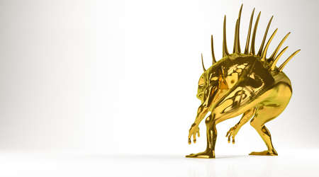 golden 3d rendering of a monsterisolated on white