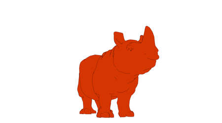 outlined rhino isolated on white 3d rendering
