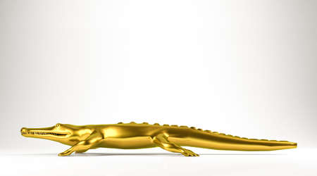 alligator isolated: golden 3d rendering of an animal isolated on white Stock Photo