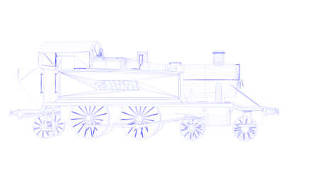 delineation: 3d rendering of an outlined train