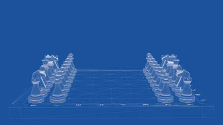 3d rendering of an outlined chess Stock Photo