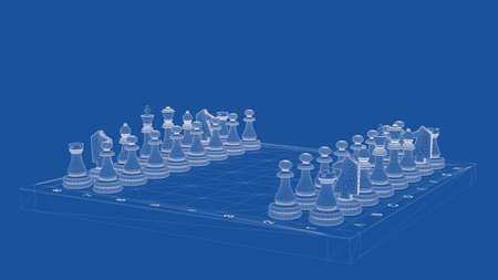 delineation: 3d rendering of an outlined chess Stock Photo