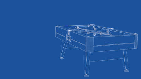 delineation: 3d rendering of an outlined billiard table Stock Photo