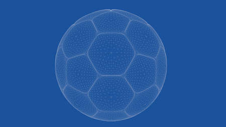 delineation: 3d rendering of an outlined foot ball