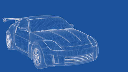 delineation: 3d rendering of an outlined car