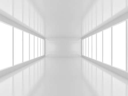 futuristic white room with area light 3d rendering