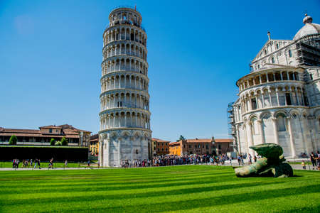 Pisa tower in Italy with blue background sky