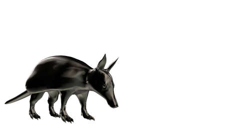 3d rendering of a reflective ant eater animal on a background