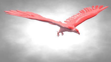 rendered: 3d rendering of a reflective eagle bird flying in the air Stock Photo