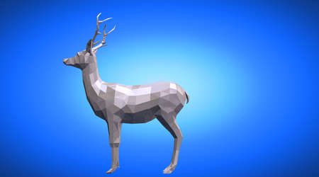 rendered: 3d rendering of a reflective deer animal with beautiful horns