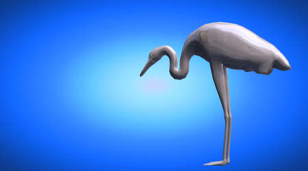 3d rendering of a reflective bird with long legs