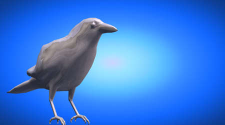 3d rendering of a standing reflective crow bird