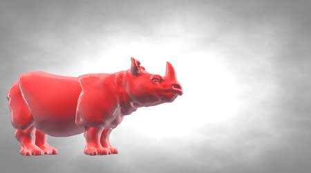 heavy metal: 3d rendering of a reflective hippo animal on a circual gradient background