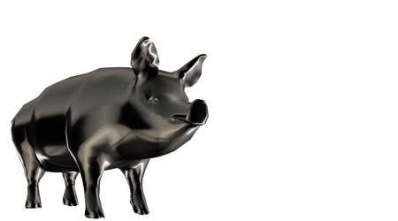 heavy metal: 3d rendering of a reflective fat pig animal on a background