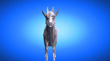 小さな角を持つ反射ヤギの 3 d レンダリング 写真素材