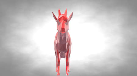 3d rendering of a reflective goat with small horns