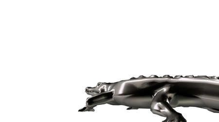 heavy metal: 3d rendering of a scary reflective crocodile animal