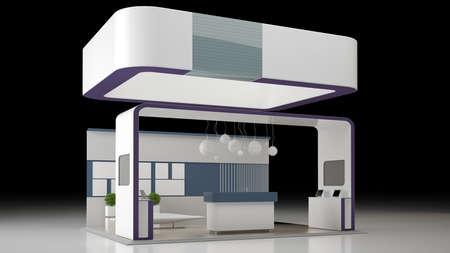 3 D レンダリング白で隔離の展覧会の設計