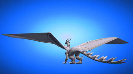 heavy metal: 3d rendering of a scary big flying dragon with large wings