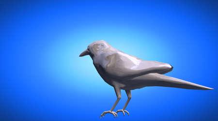 rendered: 3d rendering of a standing reflective crow bird