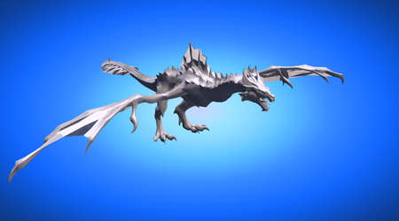 3d rendering of a scary big flying dragon with large wings