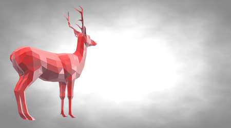 reflect: 3d rendering of a reflective deer animal with beautiful horns