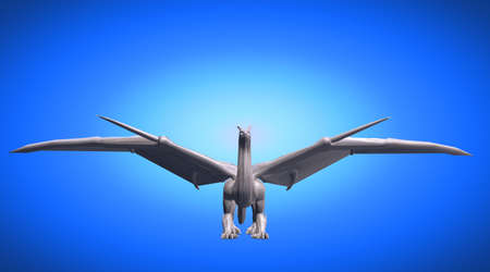 rendered: 3d rendering of a scary big flying dragon with large wings