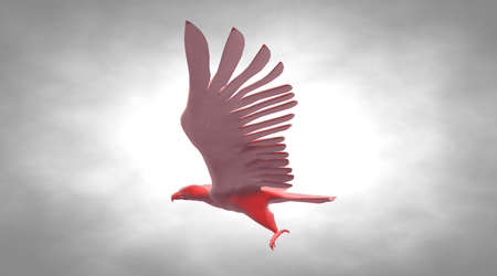 heavy metal: 3d rendering of a reflective eagle bird flying in the air Stock Photo