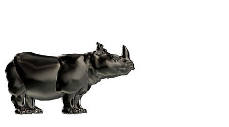 3d rendering of a reflective hippo animal and isolated on a white background