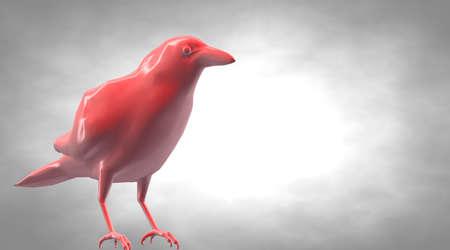 3d rendering of a standing reflective crow bird
