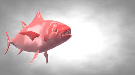 rendered: 3d rendering of a reflective fish shape swimming with fins Stock Photo