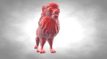 rendered: 3d rendering of a reflective lion on a background