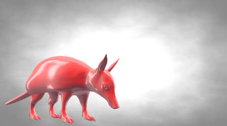 rendered: 3d rendering of a reflective ant eater animal on a background