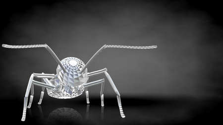 3d rendering of a reflective ant on a dark black background Stock Photo