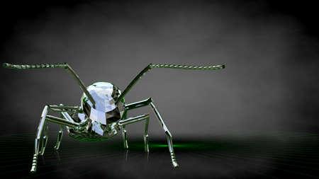 暗い黒の背景に反射する蟻の3d レンダリング 写真素材