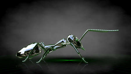 3d rendering of a reflective ant on a dark black background Stock Photo - 85772153