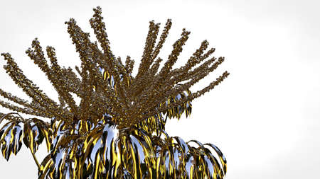 3d rendering of an abstract reflective golden tree on a white background