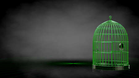 3d rendering of a reflective cage on a dark black background Imagens