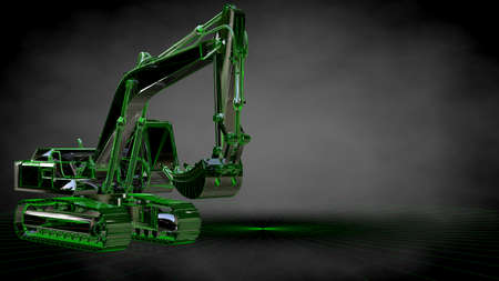 3d rendering of a reflective digger machine on a dark black background
