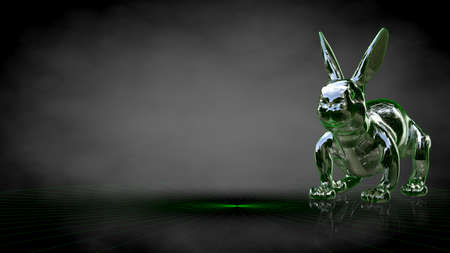 3d rendering of a reflective rabbit on a dark black background