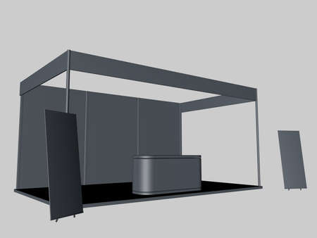 two: 3d rendering of a gray exhibiton with two posters and a desk
