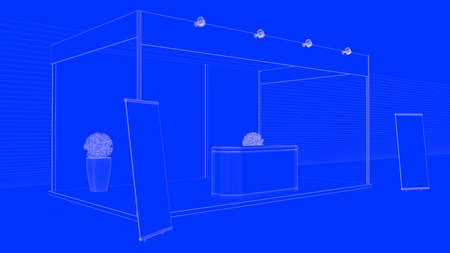 drawing room: 3d rendering of an outlined exhibition isolated on a blue background