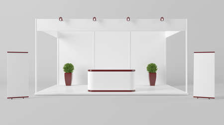 counter top: 3d rendering of a white creative exhibition kiosk for branding Stock Photo
