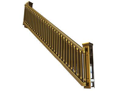 3d rendering of a golden stairs rail isolated on a white background Stock Photo