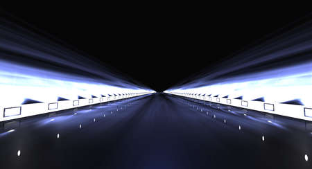 garage: 3d rendering of a futuristic road with lights along the path